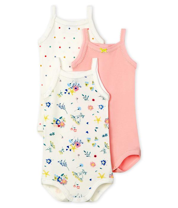 Baby Girls Multicolor Cotton Babysuit Set (3 Pack)