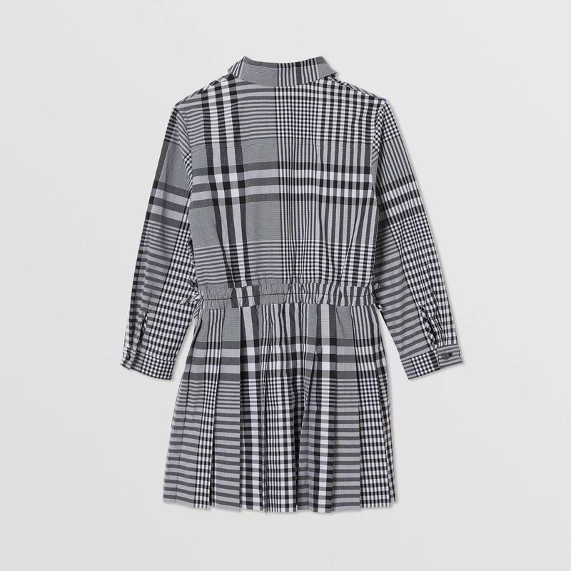 Girls Black Check Cotton Dress