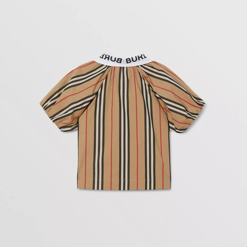 Girls Beige Stripe Cotton Top