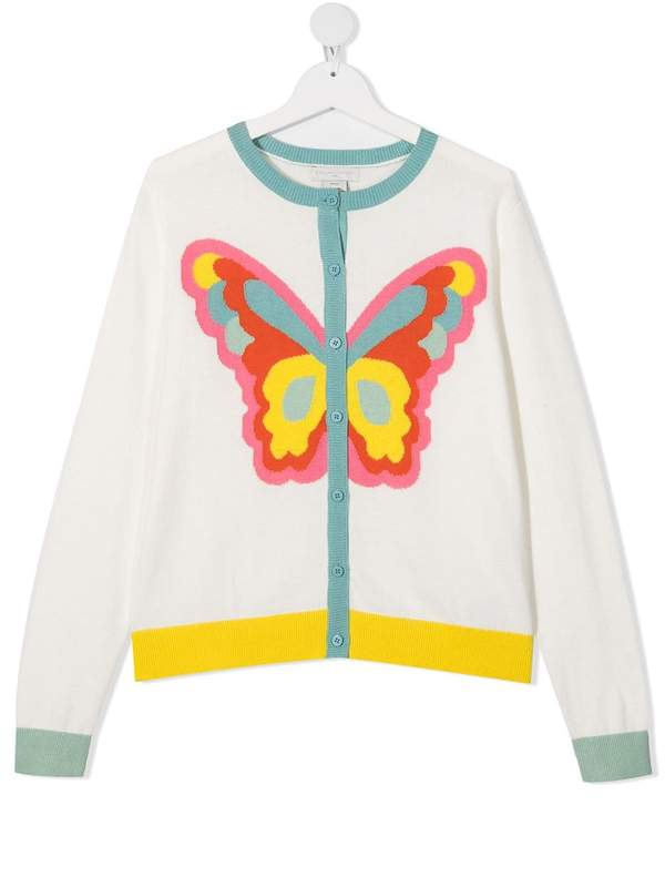 Girls White Butterfly Cotton Cardigan