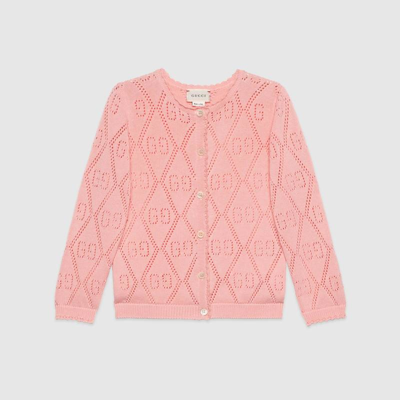 Girls Pink GG Logo Cotton Cardigan