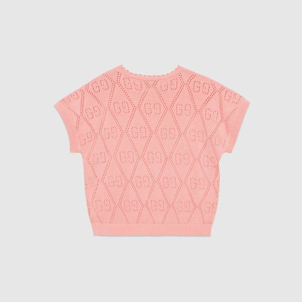 Girls Pink GG Knit Sweater