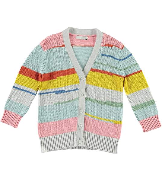 Girls Multicolor Striped Cotton Cardigan