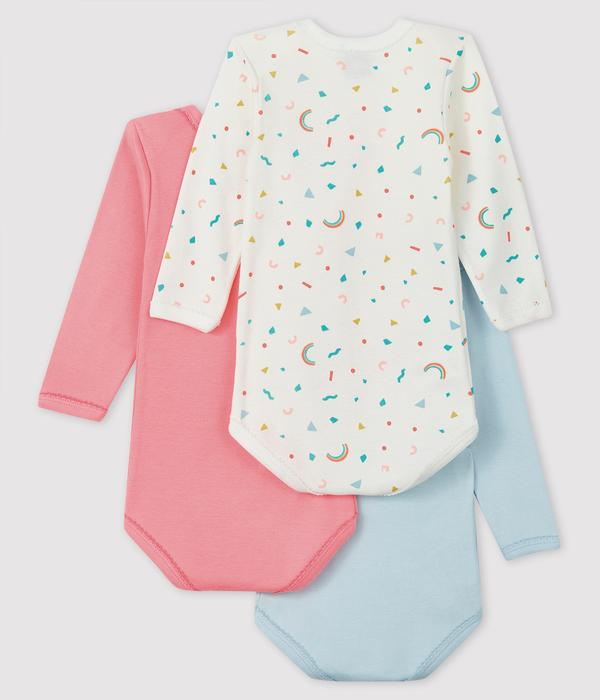 Baby Girls Multicolor Cotton Babysuit Sets (3 Pieces)