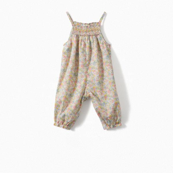 Baby Girls Pink Floral Cotton Trousers