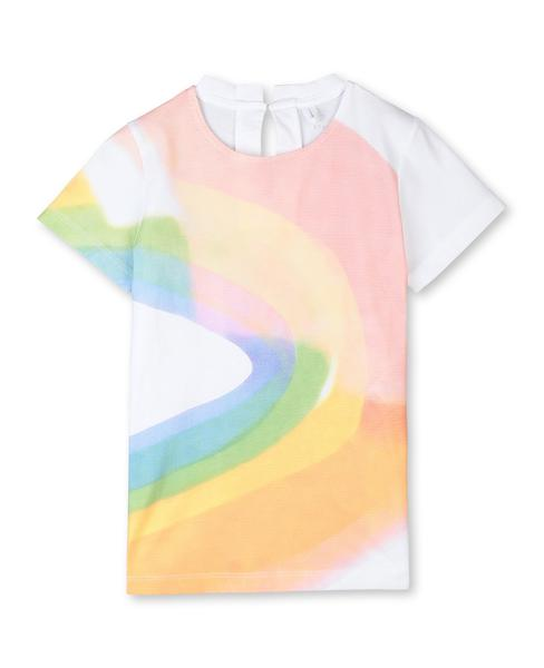 Girls White Rainbow Watercolor Cotton T-shirt