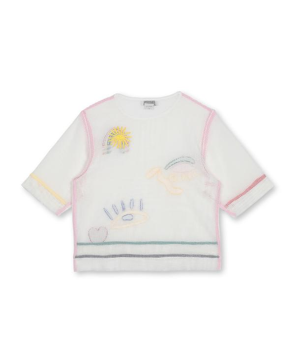 Girls White Mesh Embroidered Cotton T-shirt