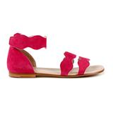 Girls Bright Pink Leather Sandals