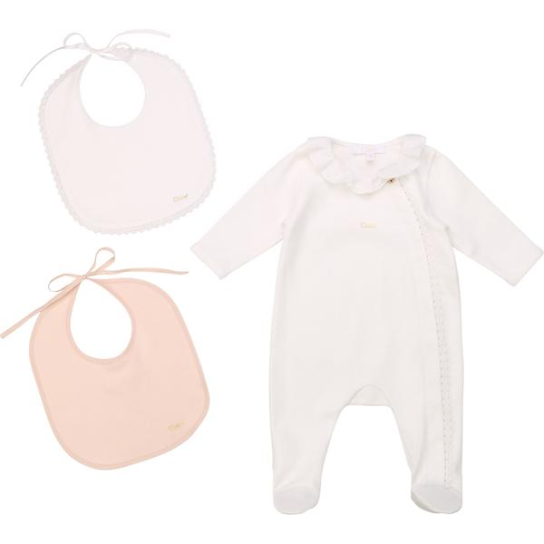 Baby Girls Off White Cotton Babysuit