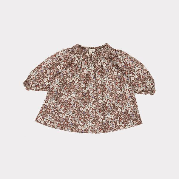 Baby Girls Brown Floral Cotton Dress
