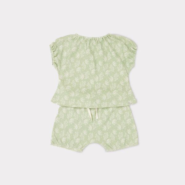 Baby Girls Mint Printed Cotton Set