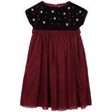Girls Red Dress With Star Trims