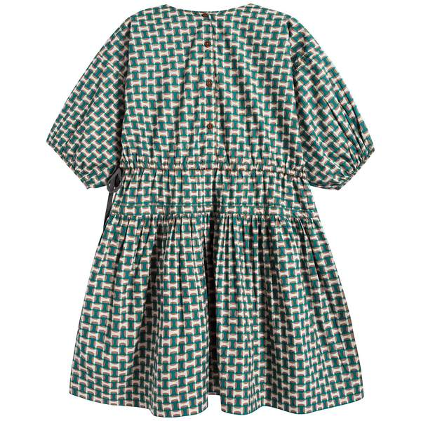 Girls Emerald Print Cotton Dress