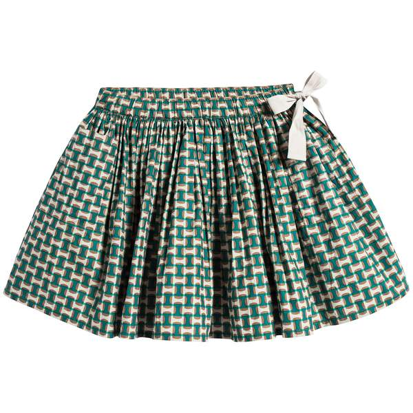 Girls Emrald Green Cotton Skirt