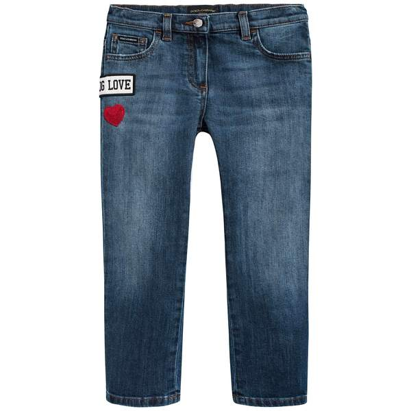 Girls Dark Blue Rose Embroidered Denim Trousers