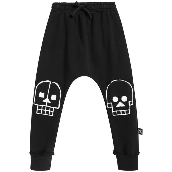 Baby Boys Black Skull Cotton Trousers