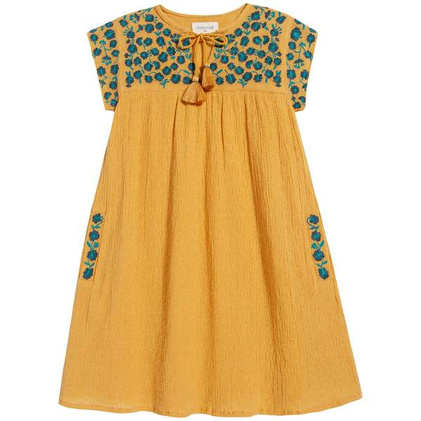 Girls Yellow Embroidered Cotton Dress