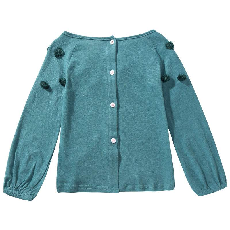 Girls Peacock Blue Cotton T-shirt