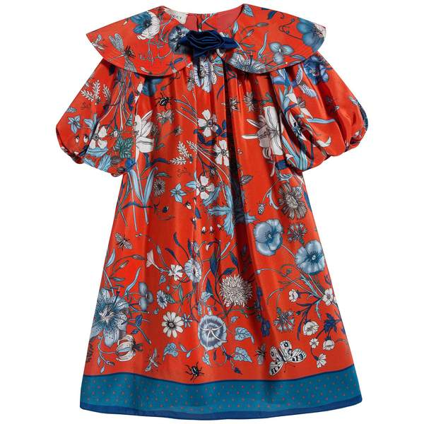 Girls Orange Red & Blue Printed Silk Dress