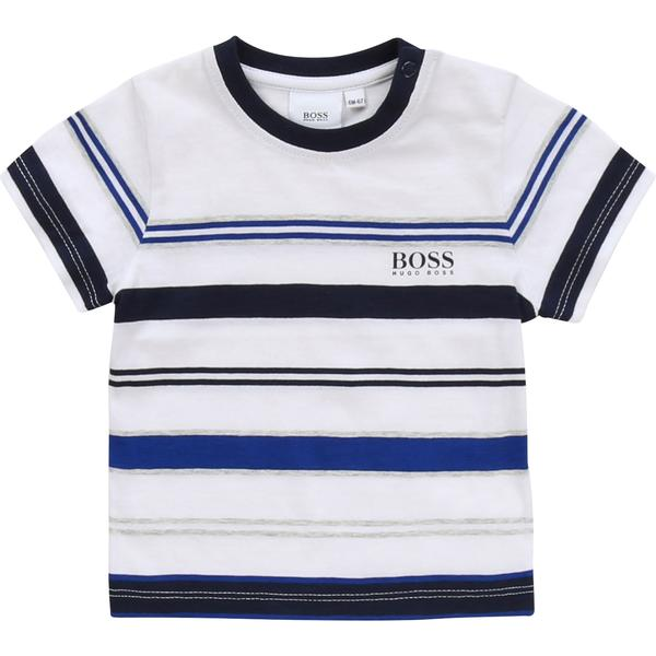 Baby Boys White & Blue Stripe Cotton T-shirt