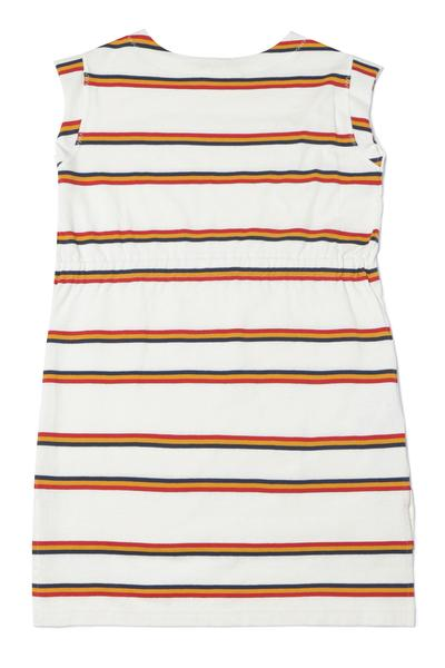 Girls White Stripe Cotton Dress