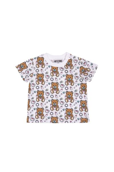 Baby Boys & Girls White Toy Cotton T-shirt