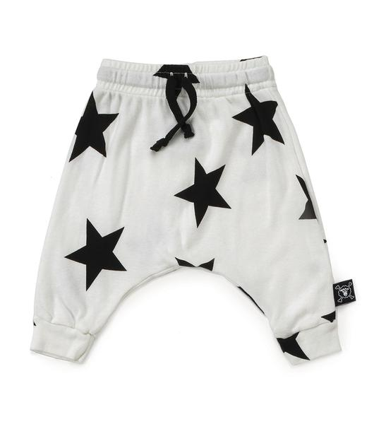 Baby Boys & Girls White Star Baggy Cotton Trousers