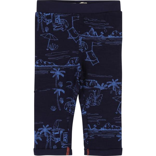 Boys Indigo Blue Printed Cotton Leggings