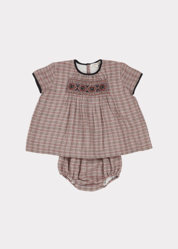 Baby Girls Pink Check Tunic Set