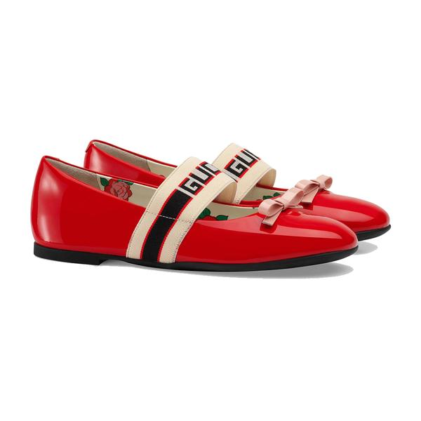 Girls Red Patent Leather Calf Skin Ballet Flats