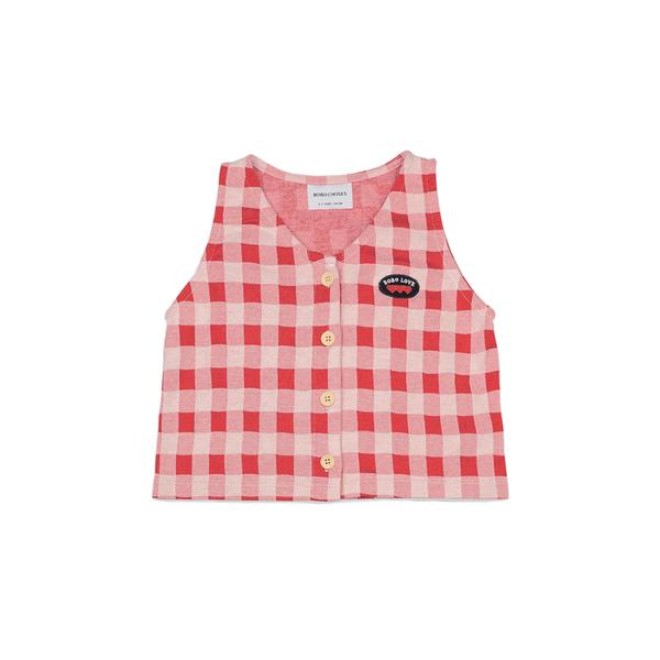 Girls Red Check Button Cotton Top