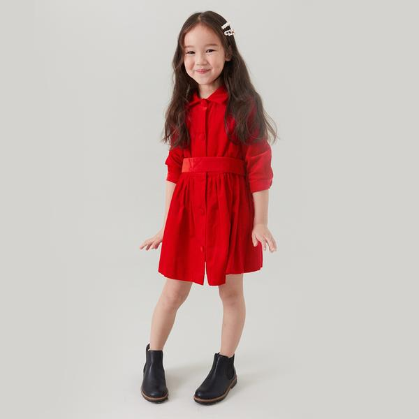 Girls Bright Fire Cotton Dress