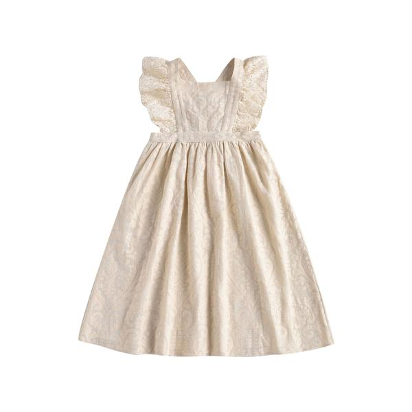 Girls Cream Baroque Lace Dress