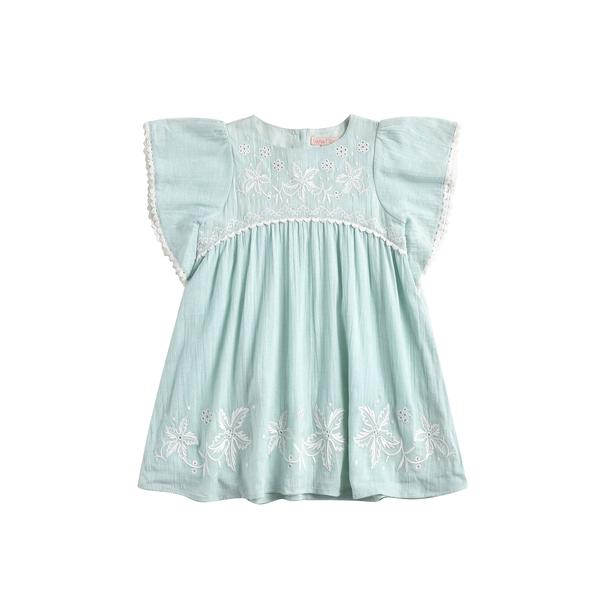 Girls Cyan Embroidered Cotton Dress
