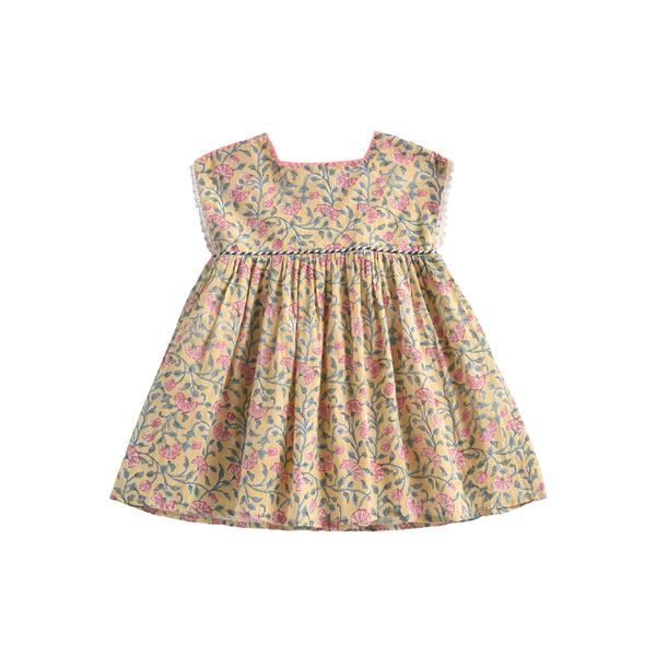 Girls Lemon Flowers Cotton Dress