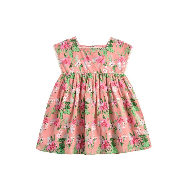 Girls Pink Flamingo Cotton Dress