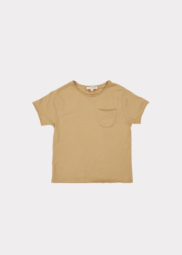 Boys & Girls Light Khaki Cotton T-shirt