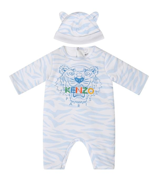Baby Boys Light Blue Logo Babysuit