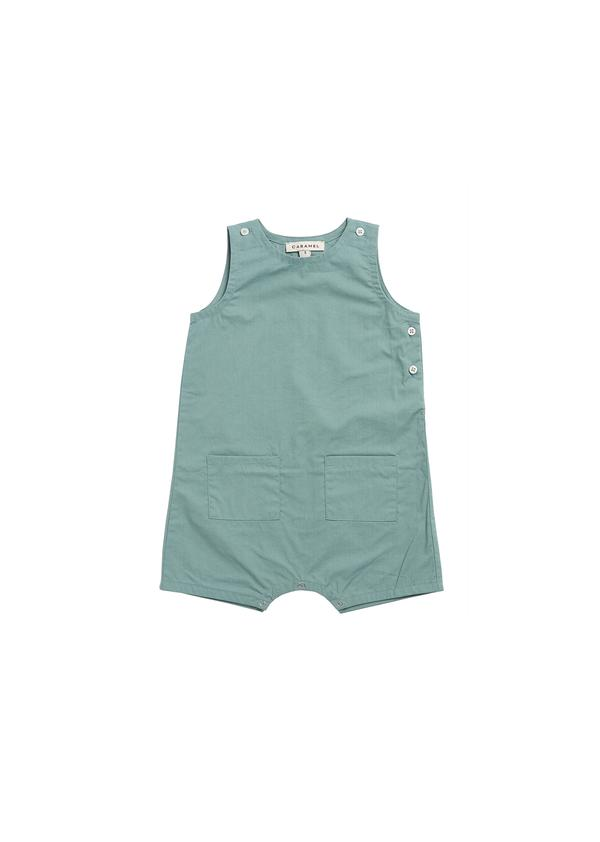 Baby Boys & Girls Cyan Cotton Jumpsuit