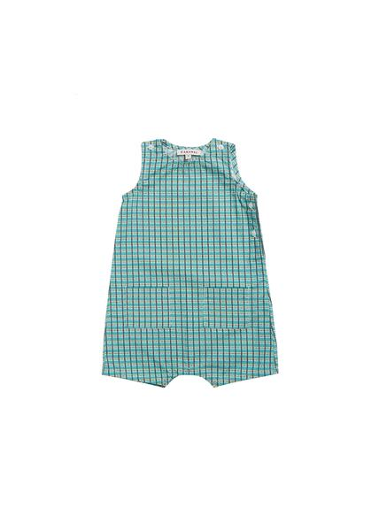Baby Boys & Girls Green Painted Check Cotton Jumpsuit