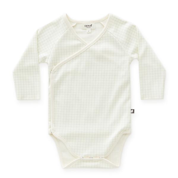 Baby Boys & Girls White Check Cotton Babysuit