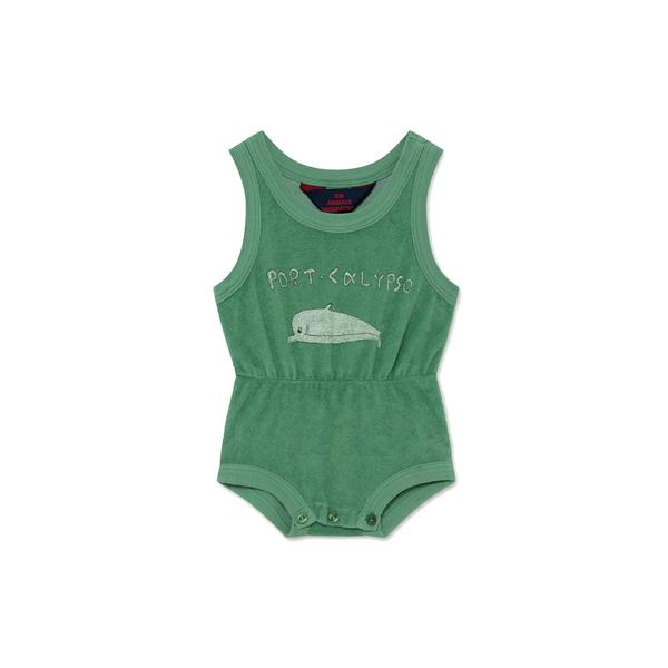 Baby Boys & Girls Green Dolphin Cotton Jumpsuit